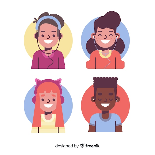 Jonge mensen luisteren naar muziekpakket Gratis Vector