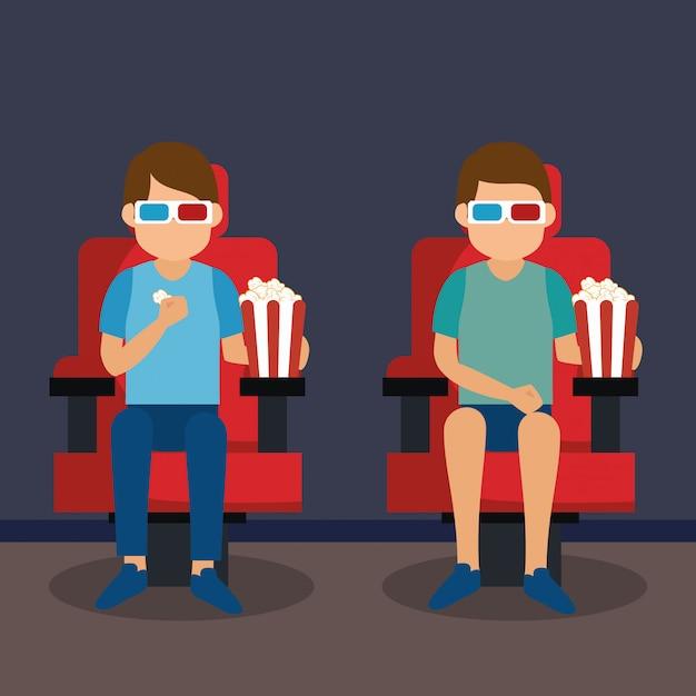 Jonge mensen met een bril 3d en bioscoop pictogrammen Premium Vector