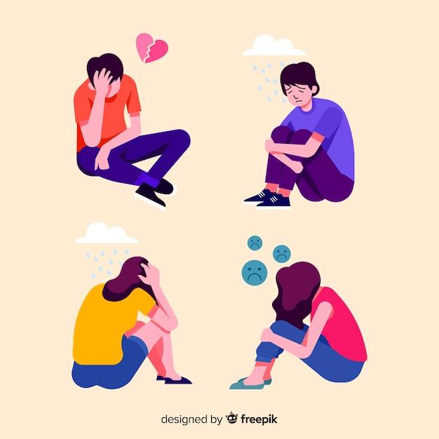Jonge mensen met verschillende emoties Premium Vector