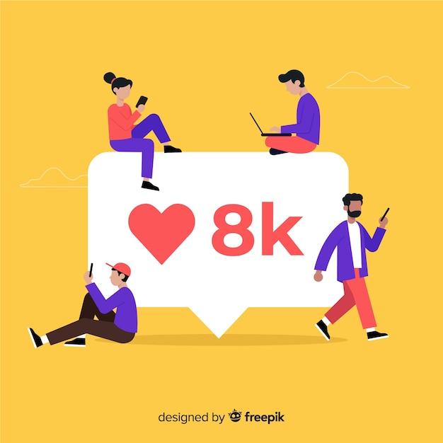 Jonge mensen op zoek naar likes op sociale media Gratis Vector
