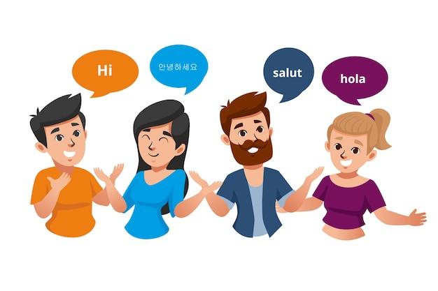 Jonge mensen praten in verschillende talen groep Gratis Vector