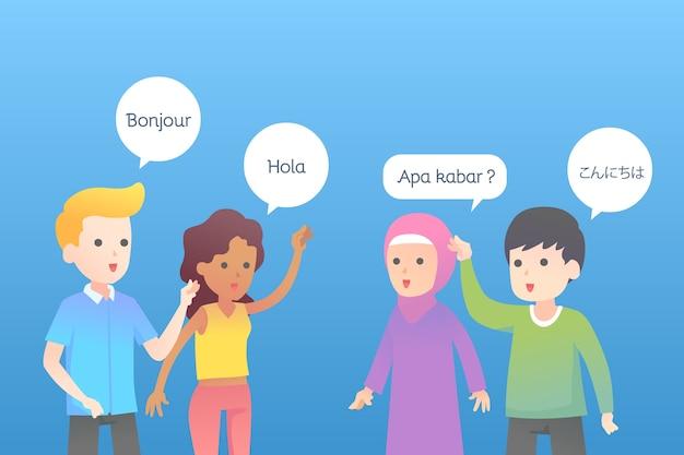 Jonge mensen praten in verschillende talen Gratis Vector