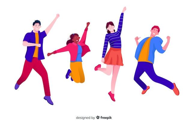Jonge mensen springen en plezier maken Gratis Vector