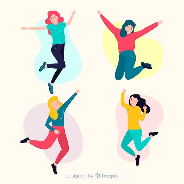 Jonge mensen springen in de lucht Gratis Vector