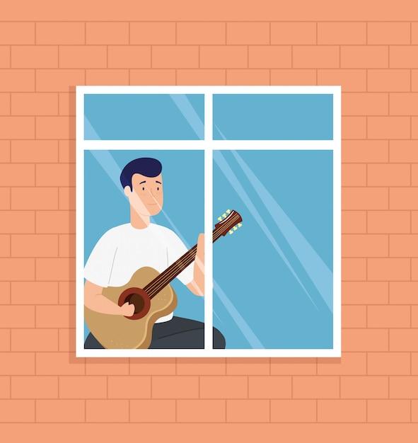 Jonge mensenverblijf die thuis gitaar in venster spelen Gratis Vector