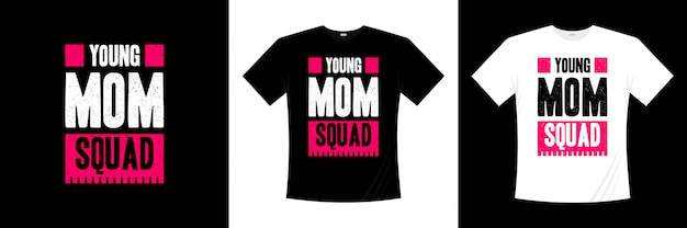 Jonge moeder ploeg typografie t-shirt ontwerpen Premium Vector