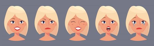 Jonge mooie blonde vrouw Premium Vector