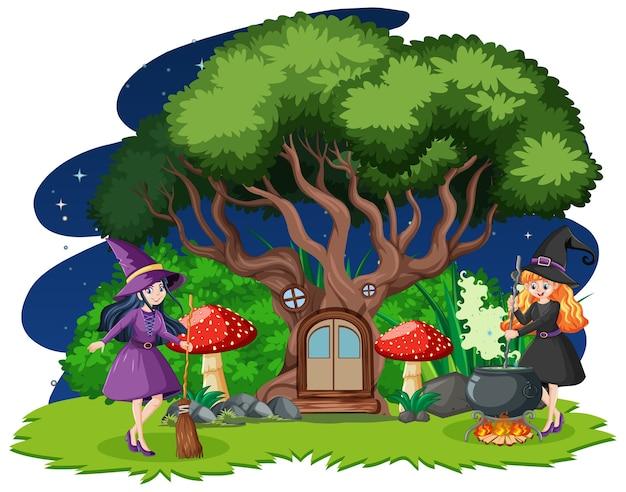 Jonge mooie heksen met cartoon stijl van de boomhut geïsoleerd op een witte achtergrond Gratis Vector