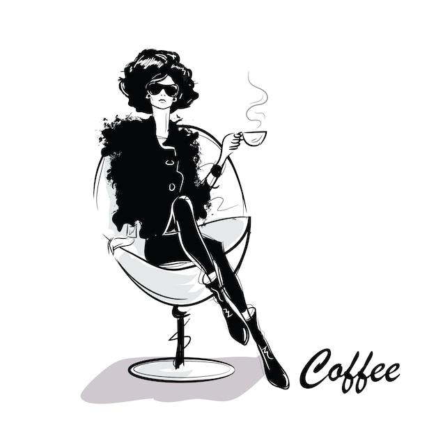 Jonge mooie vrouw koffie drinken Premium Vector