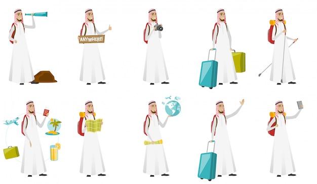 Jonge moslimreiziger man set Premium Vector
