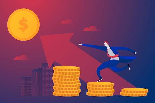 Jonge ondernemer investeert geld in een winstgevende zakenpartner. plat karakter Gratis Vector
