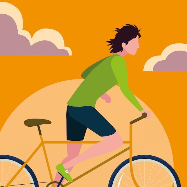 Jonge personenvervoerfiets met hemelsinaasappel Premium Vector