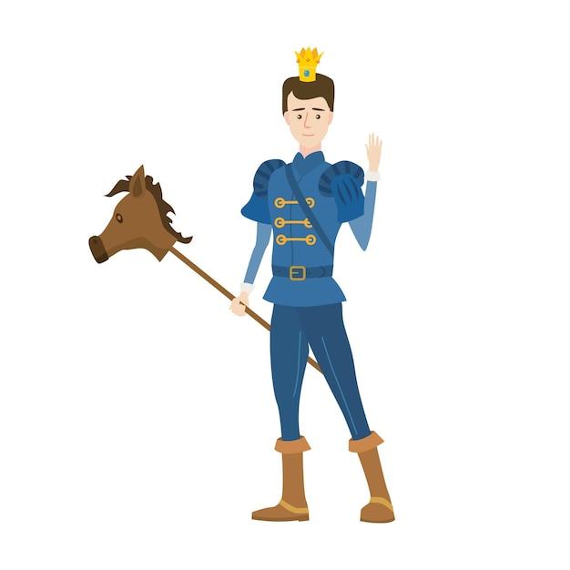 Jonge prins met kroon in middeleeuws sprookjeskostuum en speelgoedpaard op een stok. Premium Vector