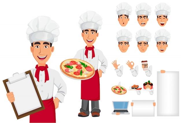 Jonge professionele chef-kok in uniform en kok hoed, instellen Premium Vector