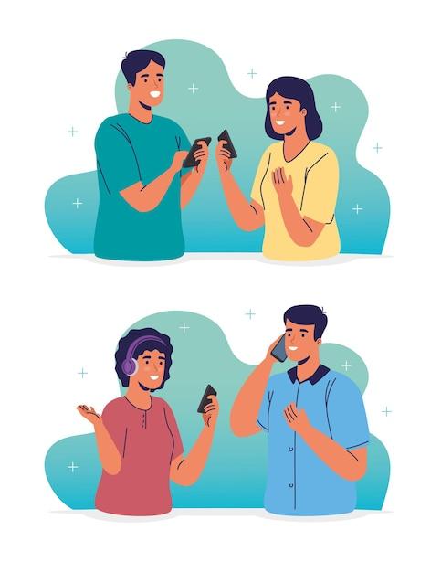 Jonge stellen die smartphones-karakters gebruiken Premium Vector
