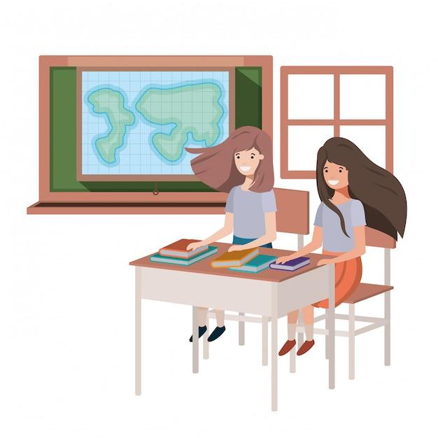 Jonge student meisjes in aardrijkskunde klas Premium Vector
