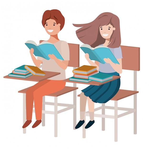 Jonge studenten die in schoolbank lezen Premium Vector
