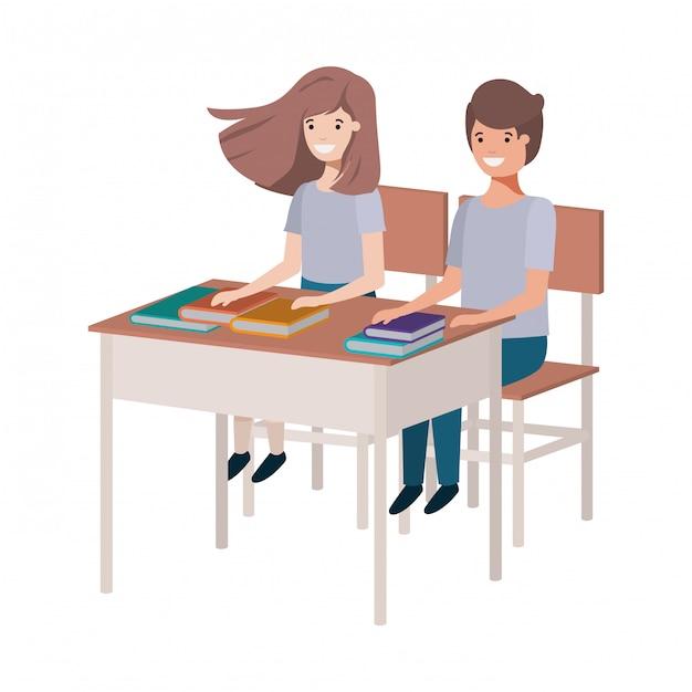 Jonge studenten die in schoolbank zitten Premium Vector