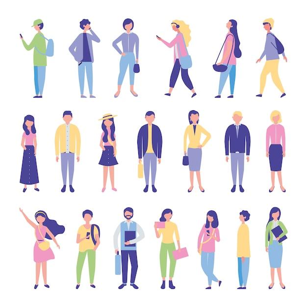 Jonge studenten groeperen avatars-personages Gratis Vector