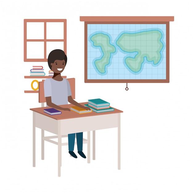 Jonge studenten zwarte jongen in aardrijksk klaslokaal Premium Vector