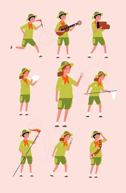 Jonge verkenners. kinderen jongens en meisjes avontuur kamperen specifieke uniformen platte karakters. illustratie verkenner wandelen, personages avontuur en reizen Premium Vector