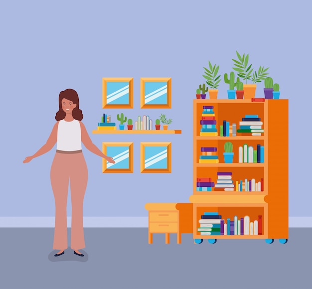 Jonge vette vrouw die zich in de bibliotheekruimte bevindt Gratis Vector