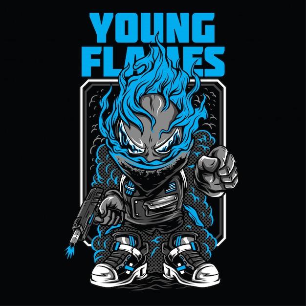 Jonge vlammen illustratie Premium Vector