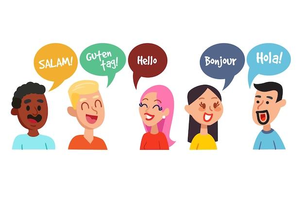 Jonge volwassenen met elkaar praten in verschillende talen Gratis Vector