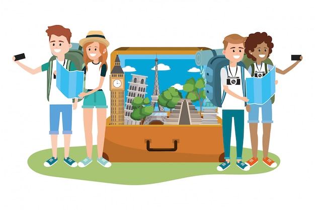 Jonge vriendentoeristen Premium Vector
