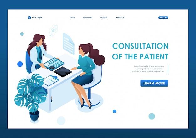 Jonge vrouw arts adviseert de patiënt. gezondheidszorg 3d isometrisch. Premium Vector