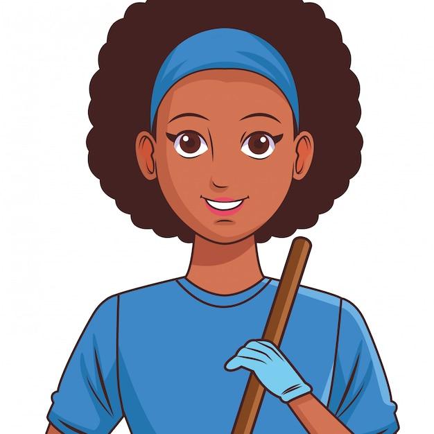 Jonge vrouw avatar cartoon karakter profielfoto Premium Vector