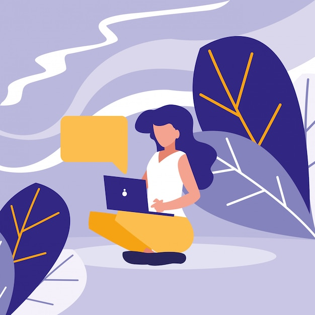 Jonge vrouw die laptop in het landschap met behulp van Premium Vector
