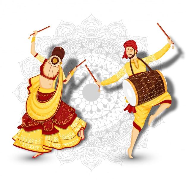 Jonge vrouw die met dandiya-dans en drummer danst Premium Vector