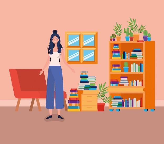 Jonge vrouw die zich in de bibliotheekruimte bevindt Gratis Vector
