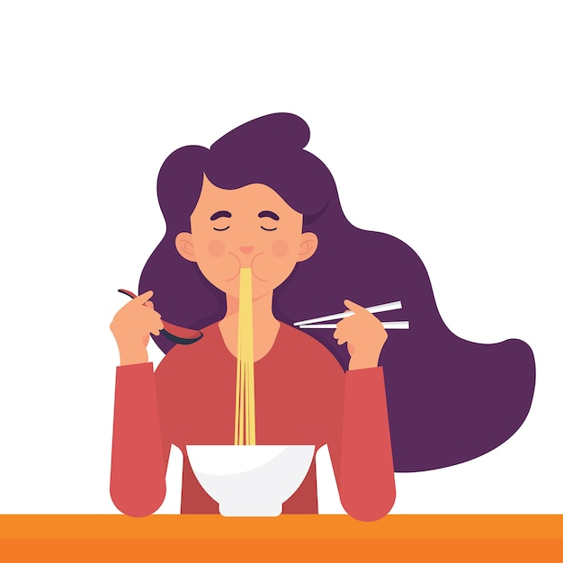 Jonge vrouw eet ramen Premium Vector