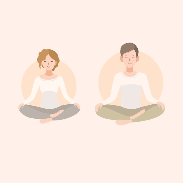 Jonge vrouw en man paar mediteren in lotus houding. ontspanning, geïsoleerde mensenillustratie. Premium Vector