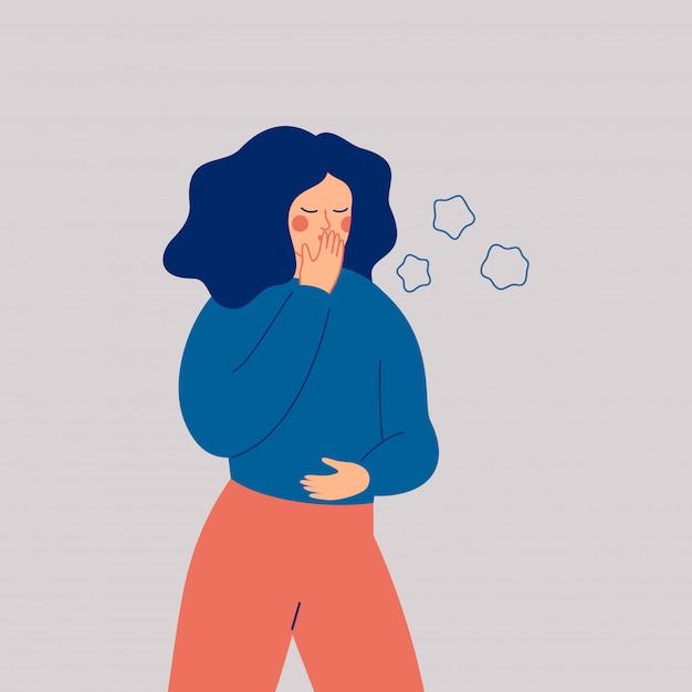 Jonge vrouw hoest. ziek meisje met symptomen van griep Premium Vector