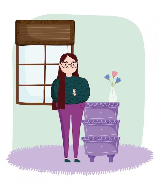 Jonge vrouw in de kamer met meubels lades bloemen in vaas Premium Vector