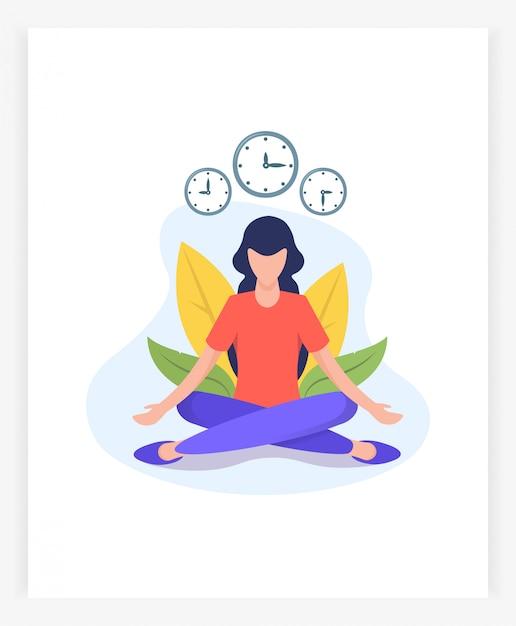 Jonge vrouw in lotushouding mediteert Premium Vector