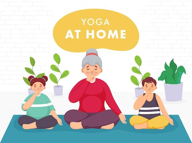Jonge vrouw karakter met kinderen afwisselend neusgat ademen yoga thuis om coronavirus te voorkomen. Premium Vector