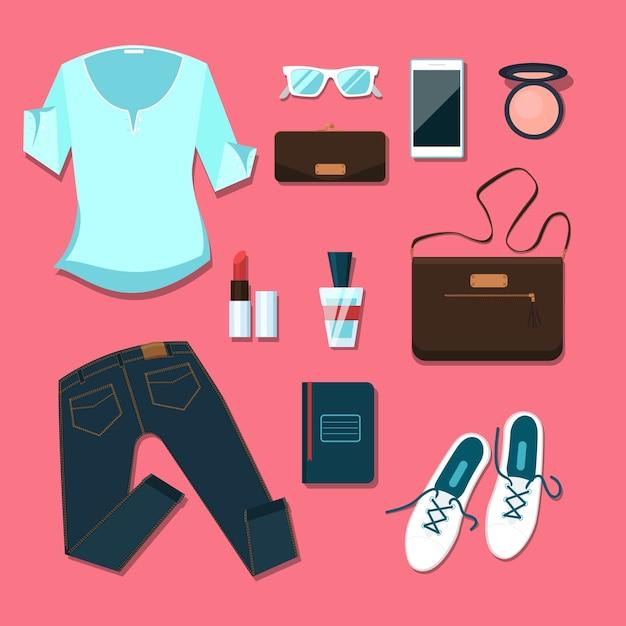 Jonge vrouw kleding en accessoires outfit. notitieboekje en smartphone, portemonnee en poeder, blouse en handtas Gratis Vector