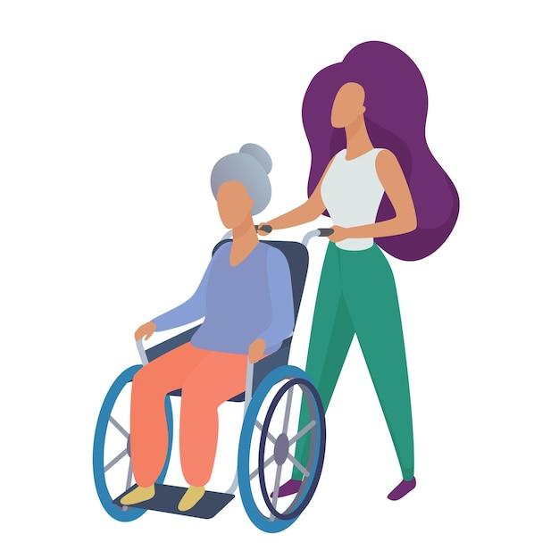 Jonge vrouw maatschappelijk werker vrijwilliger zorgzame oude gehandicapte vrouw in rolstoel illustratie Premium Vector