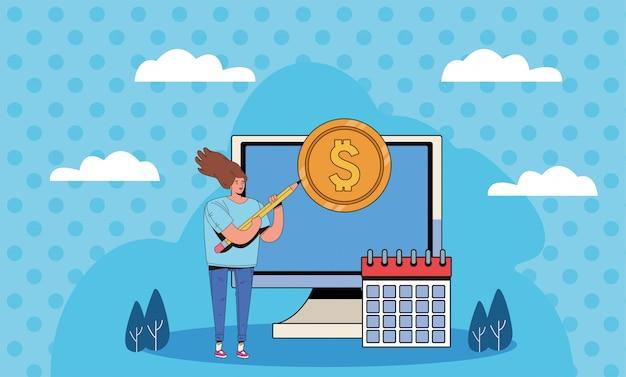 Jonge vrouw met het financiële ontwerp van de bedrijfspictogrammenillustratie Premium Vector