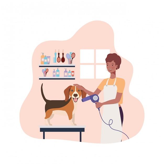 Jonge vrouw met hond in huisdierentrimmer Premium Vector