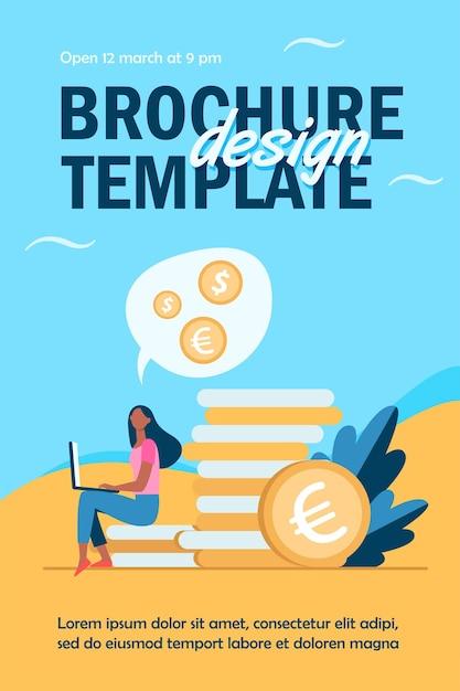 Jonge vrouw met laptop zittend op stapel van gouden munten flyer-sjabloon Gratis Vector