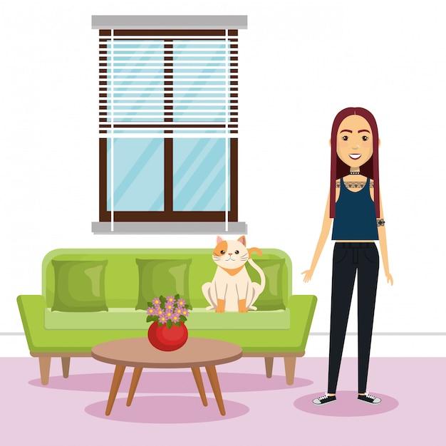 Jonge vrouw met mascotte in het huis Gratis Vector