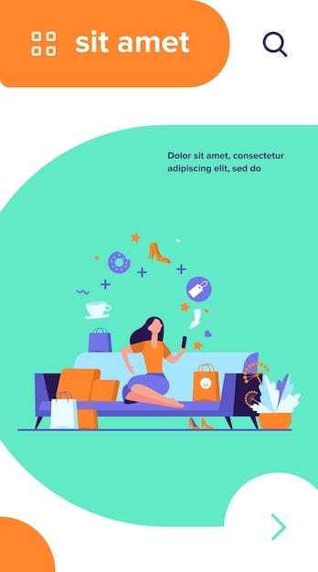 Jonge vrouw met smartphone die goederen geïsoleerde vlakke vectorillustratie kiezen. cartoon meisje bestellen van eten en kleding in online winkel Gratis Vector