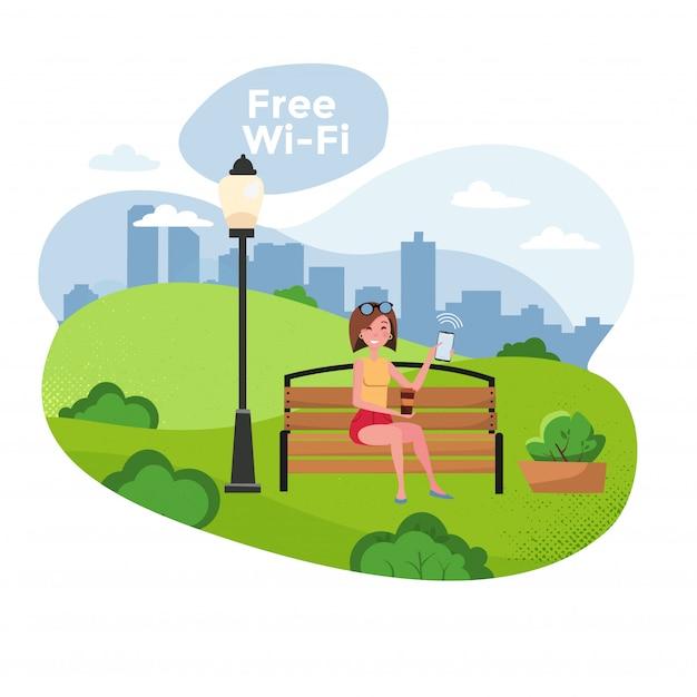 Jonge vrouw met smartphone zittend op een bankje in het park met gratis wifi. gratis wifi-zone en stadsposters op het web. Premium Vector