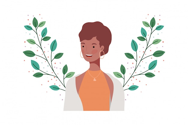 Jonge vrouw met takken en bladeren Premium Vector