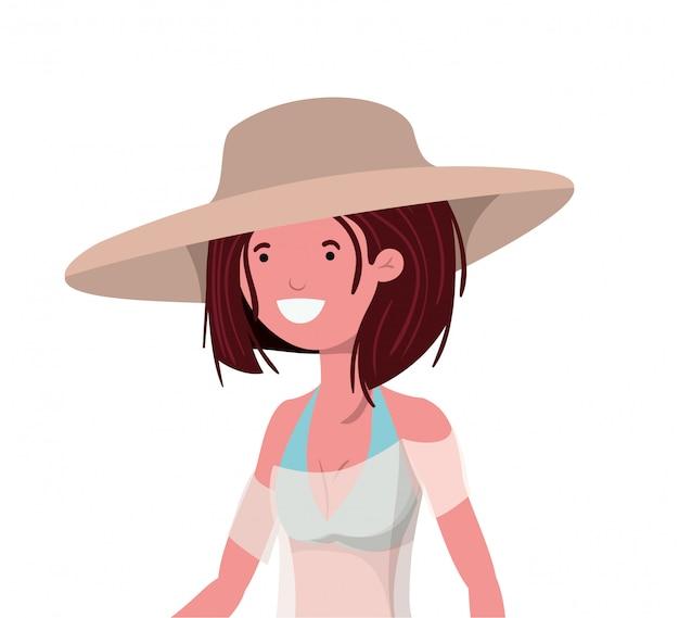 Jonge vrouw met zwempak op wit Gratis Vector
